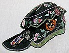 Qing Dy Chinese Silk Embroidered Childrens Wind Hat