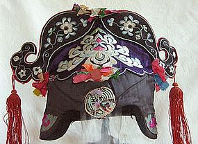 Antique Chinese Silk Embroidered Lady's Hat