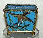 Japanese early Meiji 4 panel cloisonne small container