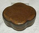 Antique Chinese golden shagreen lotus shape box