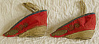 Chinese red embroidered lotus shoes bound feet