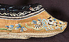 Antique Chinese Golden Silk Embroidered Lotus Shoes