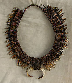 Oceanic New Guinea Papua Boar Tusk & Dog Teeth Necklace
