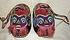 Antique Chinese child's shoes embroidered foo dog face