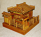 Charming Antique detailed model of Japanese teahouse