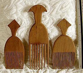 3 African Nigerian Yoruba tribe wood carved hair combs