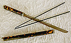 Antique Chinese Tortoise shell Trousse knife chopsticks