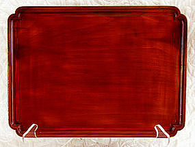 Antique Korean wooden serving tray signed