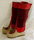 Antique Traditional Tibetan Buddhist Monk wool boots