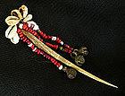 Naga India bone hair pin with beads cowrie shells