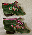 Antique Chinese Green Embroidered Lotus Shoes