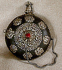 Tibetan Snuff Bottle with silver repousse ornamentation