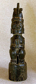 Ethnographic Indonesian Female figure carved goat horn