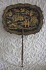 Painted Wooden Victorian Fireplace Face Fan w handle