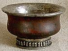 Antique Tibetan burl wood silver decoration tea bowl