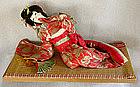 Japanese Costumed Reclining Geisha Doll