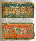 Pair Hand painted Cloth Tibetan Buddhist Tsakli Cards