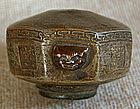Antique Chinese ceramic stoneware opium pipe bowl