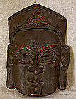 Antique Tibetan carved wooden Priest Mask