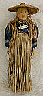 Chinese Door of Hope Doll Farmer Straw Raincoat