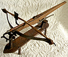 Antique Italian model weapon of cross bow with stand