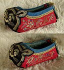 Antique pair of embroidered cat face red toddler shoes