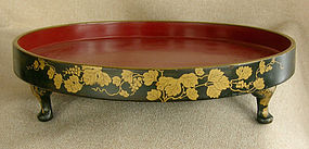 Antique Edo Period Japanese Lacquer Tray