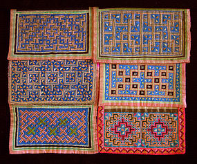 Collection of 6 Hmong Embroidered Collars Thailand