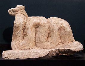A LARGE ANCIENT EGYPTIAN LIMESTONE COBRA