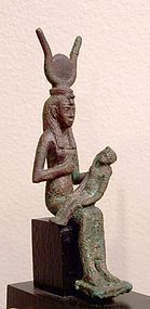 AN ANCIENT EGYPTIAN BRONZE ISIS HORUS