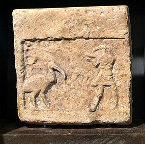 AN ANCIENT EGYPTIAN LIMESTONE RELIEF