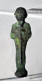 AN ANCIENT EGYPTIAN BRONZE FIGURE OF PTAH