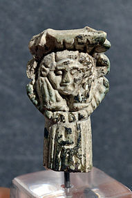 AN ANCIENT EGYPTIAN FAIENCE HATHOR SISTRUM FRAGMENT