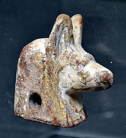 AN ANCIENT EGYPTIAN WOOD HEAD OF ANUBIS
