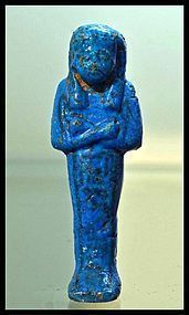 AN ANCIENT EGYPTIAN CACHE 1 BLUE FAIENCE SHABTI FOR TAYUERET