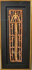 AN ANCIENT EGYPTIAN OPEN WORK GILT CARTONNAGE PECTORAL