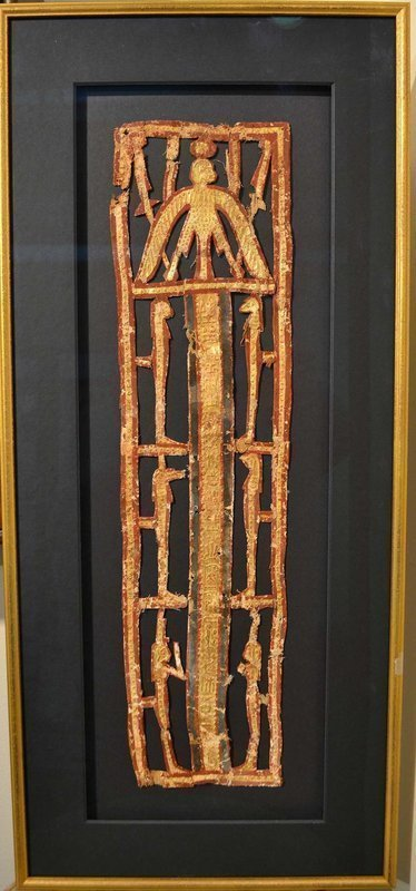 AN ANCIENT EGYPTIAN OPEN WORK GILT CARTONNAGE PECTORAL