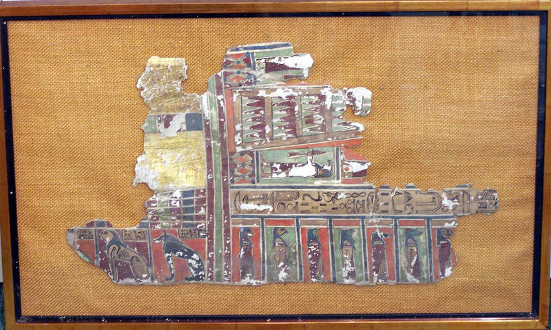 A LARGE ANCIENT EGYPTIAN FRAMED CARTONNAGE
