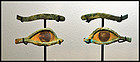 AN ANCIENT EGYPTIAN PAIR OF BRONZE AND STONE EYES