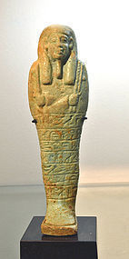 A LARGE ANCIENT EGYPTIAN FAIENCE SHABTI FOR PADIBASTET