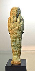 A LARGE ANCIENT EGYPTIAN FAIENCE SHABTI FOR PADIBASTET
