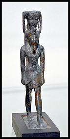 AN ANCIENT EGYPTIAN BRONZE NEFERTUM, EX. SOTHEBYS