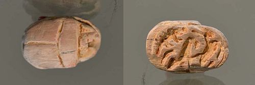 AN ANCIENT EGYPTIAN/CANAANITE STEATITE SCARAB