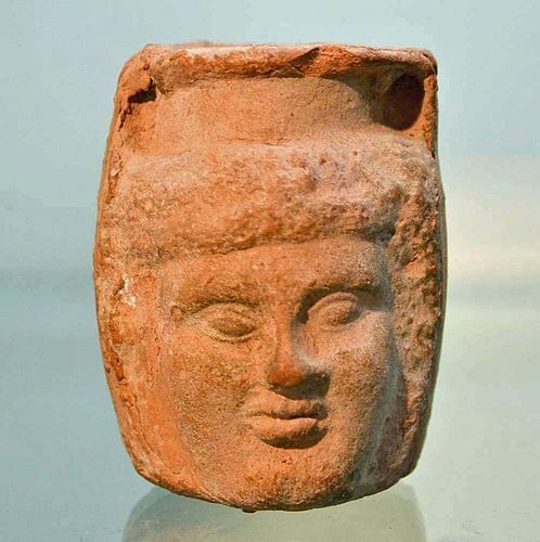 AN ANCIENT ROMAN TERRACOTTA PLASTIC VASE - PUBLISHED