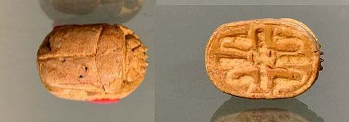 AN ANCIENT EGYPTIAN STEATITE SCARAB
