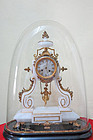 French Marble and Bronze Domed Clock with Girl on Swing