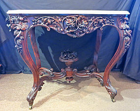 J. Meeks Rosewood Marble Top Center Table