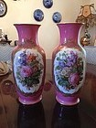Large Pair 19th Century Hand Painted Porcelain Vases