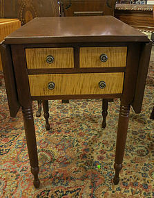 19th Century Mahogany and Tiger Maple Drop Leaf Work Table