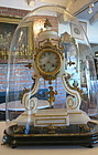 French Marble & Bronze Clock Under Dome by Vincenti et Cie.